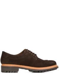 Zapatos derby de ante en marrón oscuro de Grenson