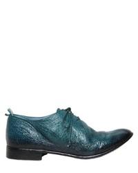 Zapatos derby de cuero en verde azulado