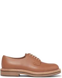 Zapatos derby de cuero marrón claro de Brunello Cucinelli