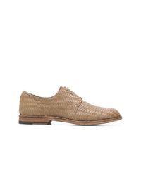 Zapatos derby de cuero tejidos marrón claro de Officine Creative