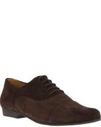 Zapatos oxford de ante en marrón oscuro