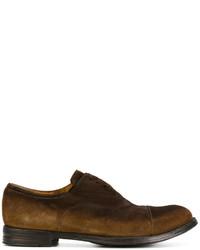 Zapatos oxford de ante en marrón oscuro de Officine Creative