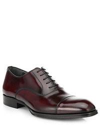Zapatos oxford de cuero burdeos