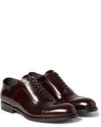 Zapatos oxford de cuero burdeos de Alexander McQueen