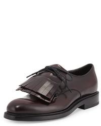 Zapatos oxford de cuero burdeos de Prada