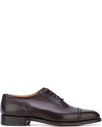 Zapatos oxford de cuero en marrón oscuro de Tricker's