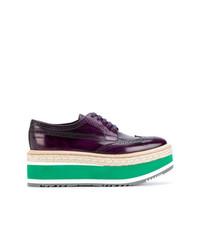 Zapatos oxford de cuero morado oscuro de Prada